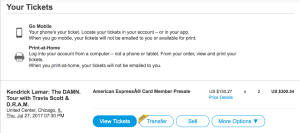 Ticketmaster resale button