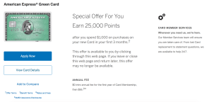 Amex Green 25,000 point offer