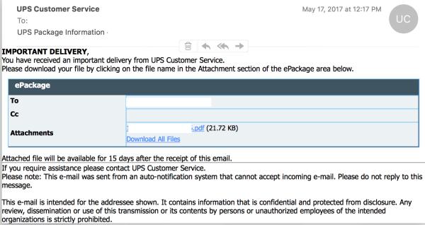 Weird UPS email