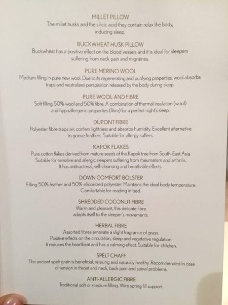 Rome Cavalieri Pillow Menu