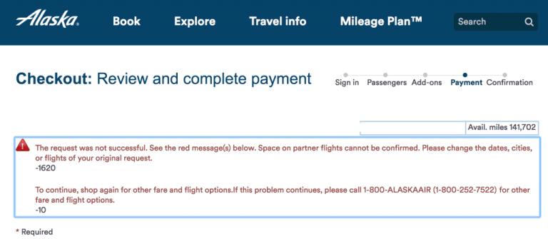 Alaska Airlines 1620 Error
