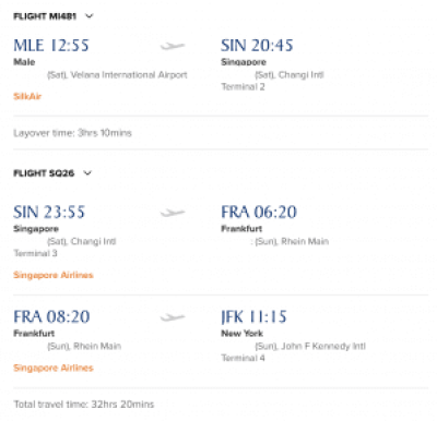 Male to JFK Singapore Airlines
