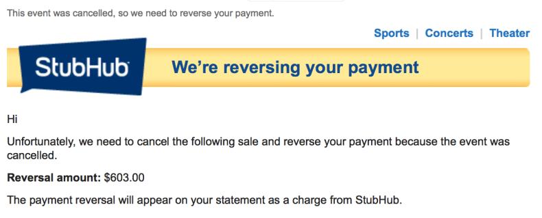 StubHub Payment Reversal