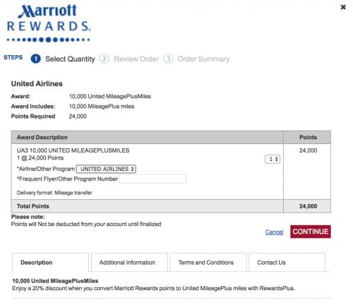 Marriott to United Transfer