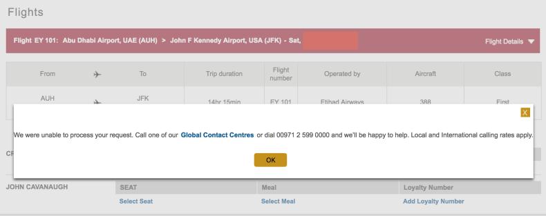 Etihad Seat Selection Error