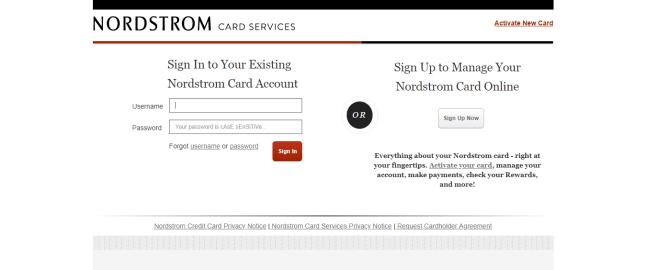 Nordstrom Card Services Login