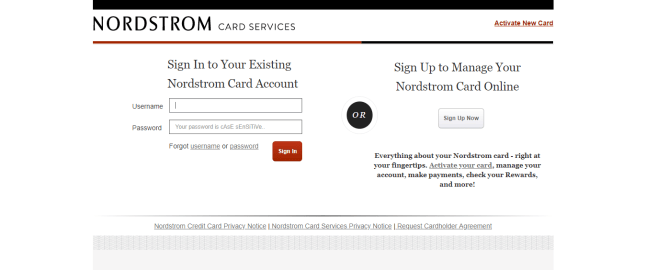 Nordstrom Card Services Login