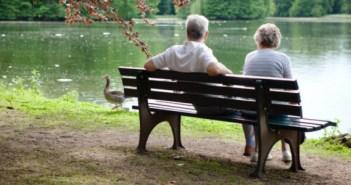 Seniors couple at the lake