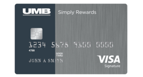 UMB Simply Rewards - Features a clean grey and blue design