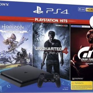 Consola Sony PlayStation 4 Slim 1TB + Joc Horizon Zero Dawn + Uncharted 4 + Gran Turismo Sport Hits (Negru)