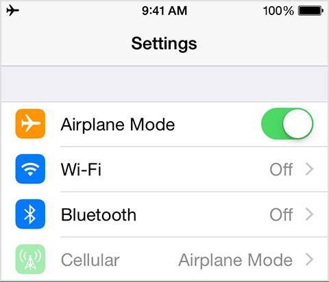 iOS Airplane Mode in iOS 8