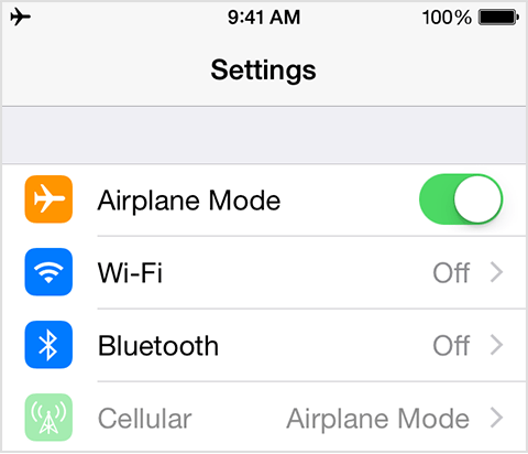 iOS Airplane Mode in iOS 8