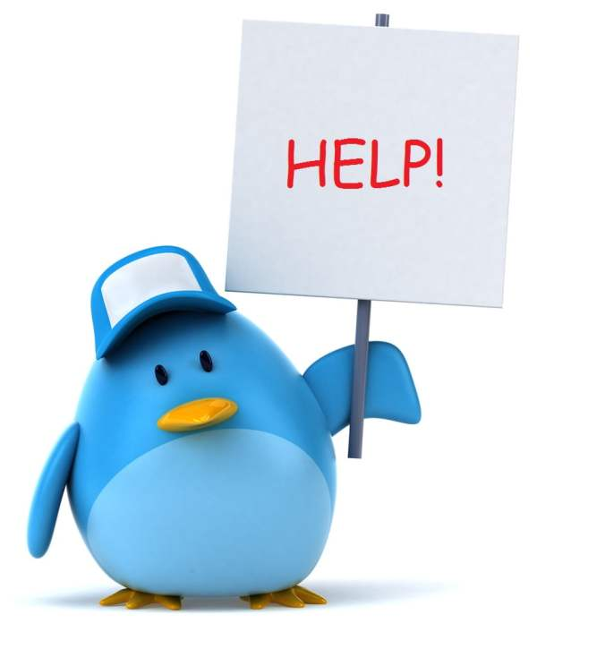 Twitter Bird Help Sign