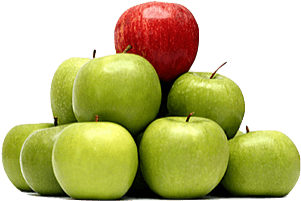 Apple Pyramid with Red on Top