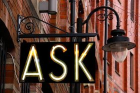 Ask on Iron Swinging Sign