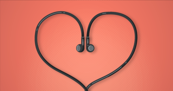 Graphic of headphones in heart shape