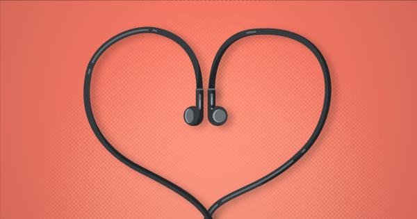 Graphic of headphones in heart shape