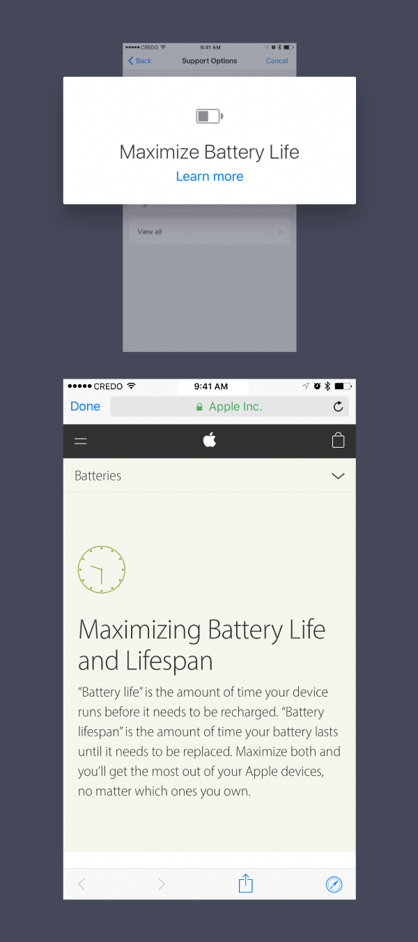 Use the battery optimization feature in Apple's Support app