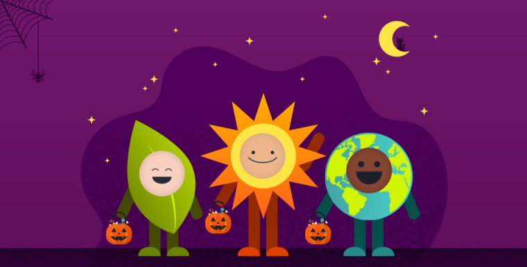 Cartoon of kids dressed as a leaf, the sun, and the Earth