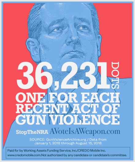 Ted Cruz 36,231 dots one for each recent act of violence