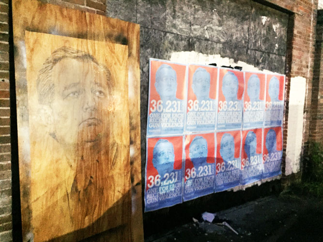 Ted Cruz painted on plywood and Ted Cruz posters in Houston