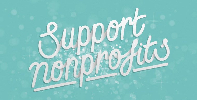 "Light blue background with transparent glitter and cursive writing that says ""support nonprofits"""