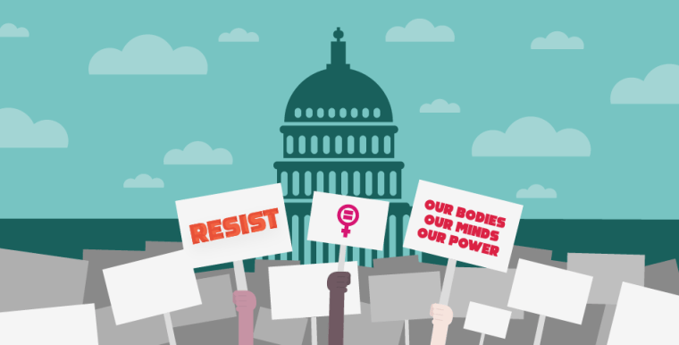 Illustration of capital building with protestors outside holding signs that say resist and our bodies, our minds, our power