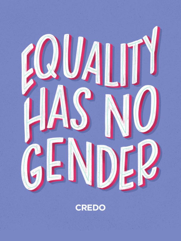 Equality has no gender written on a blue background
