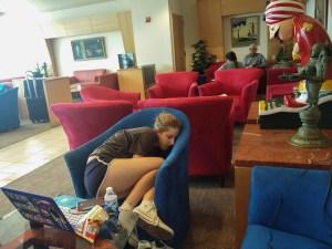 Emma asleep in the lounge