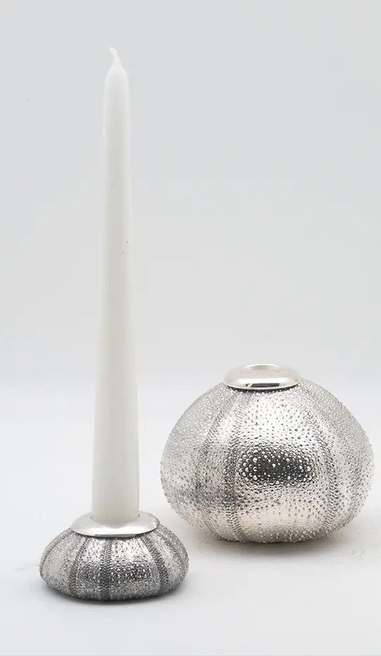 silver plated sea urchin candle holder