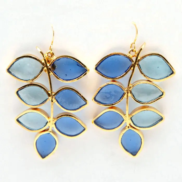 Gold Plated and Pâte de Verre Leaf Earrings, Blue