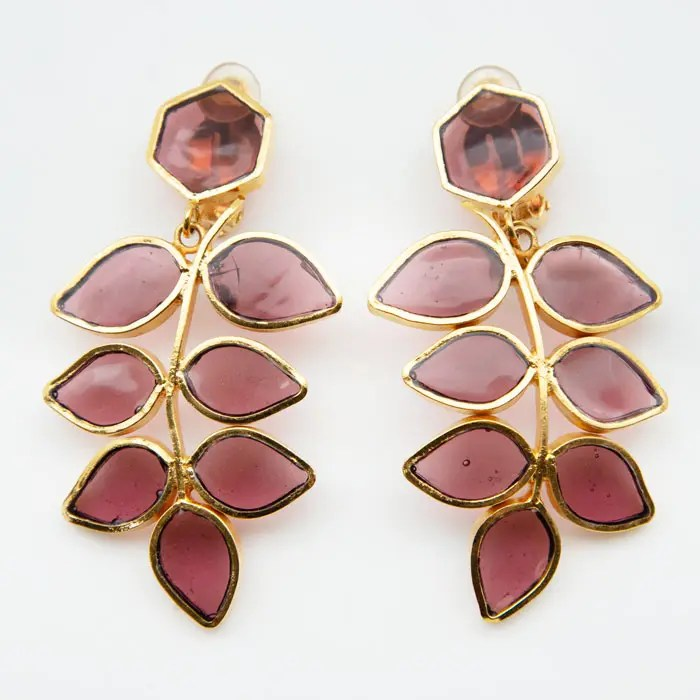 Gold Plated and Pâte de Verre clip earrings