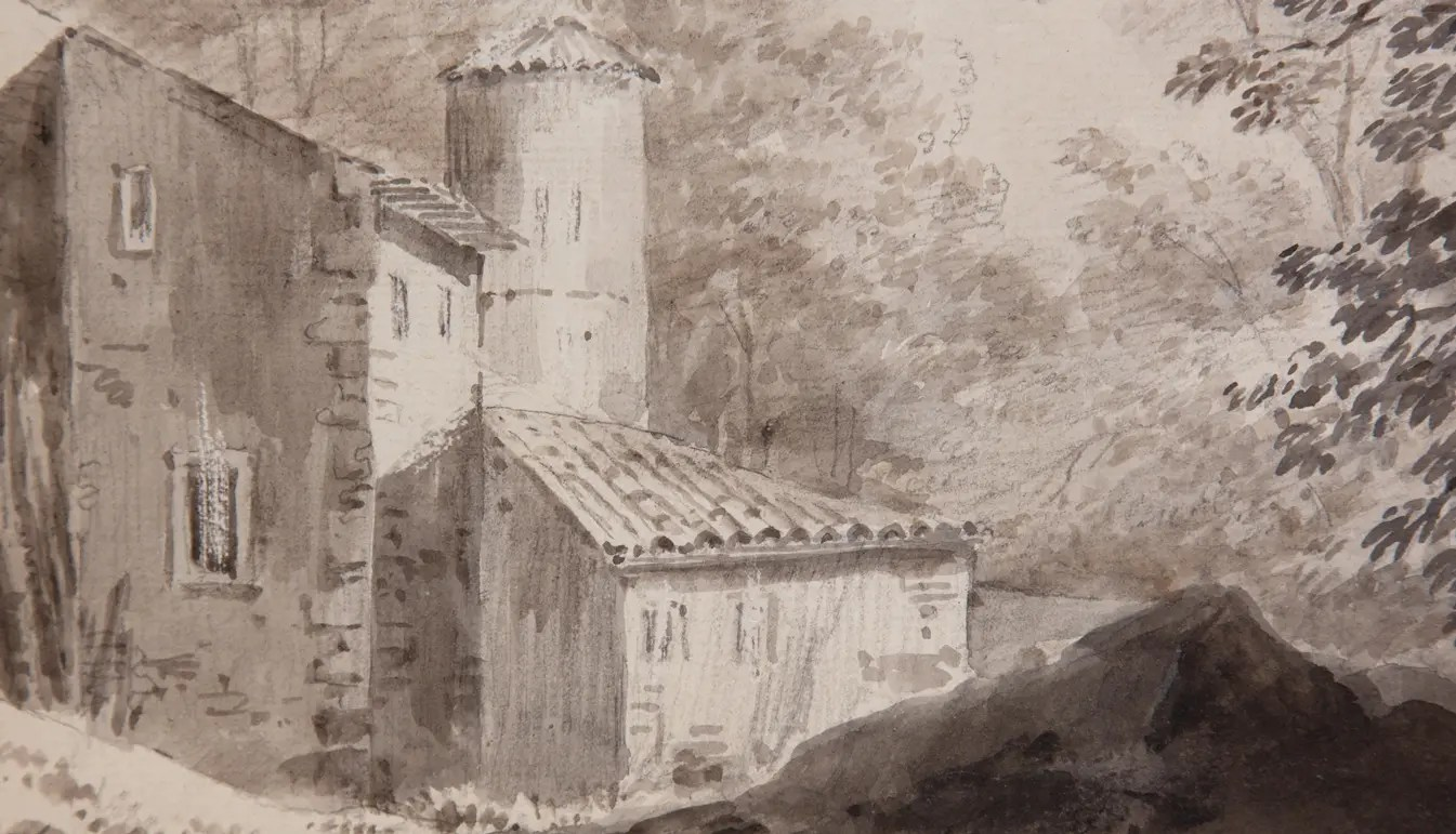 zoom on an 18th century Watercolor of Constantin d'Aix representing a barn