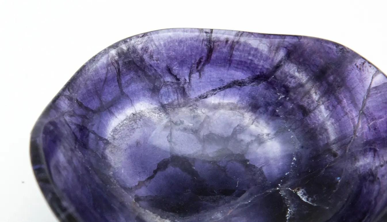 close-up on purple fluorite bowl