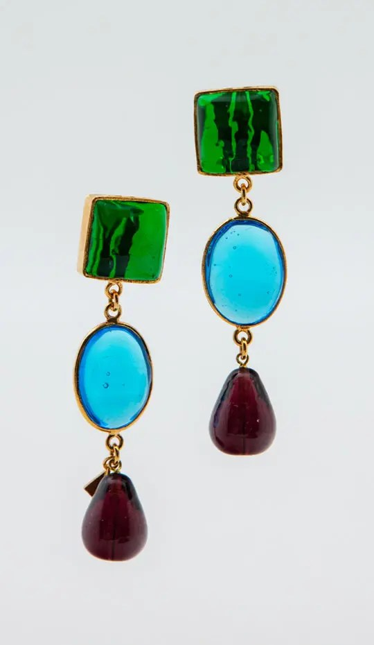 Green-blue-red-clip-earrings-with-gold