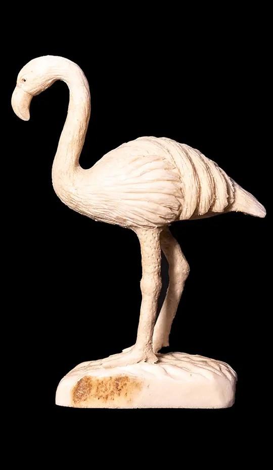 Moose-antler-carving-of-flamingo