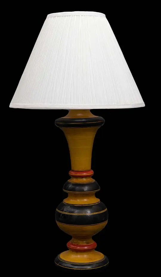 vintage painted red yellow green wood lamp