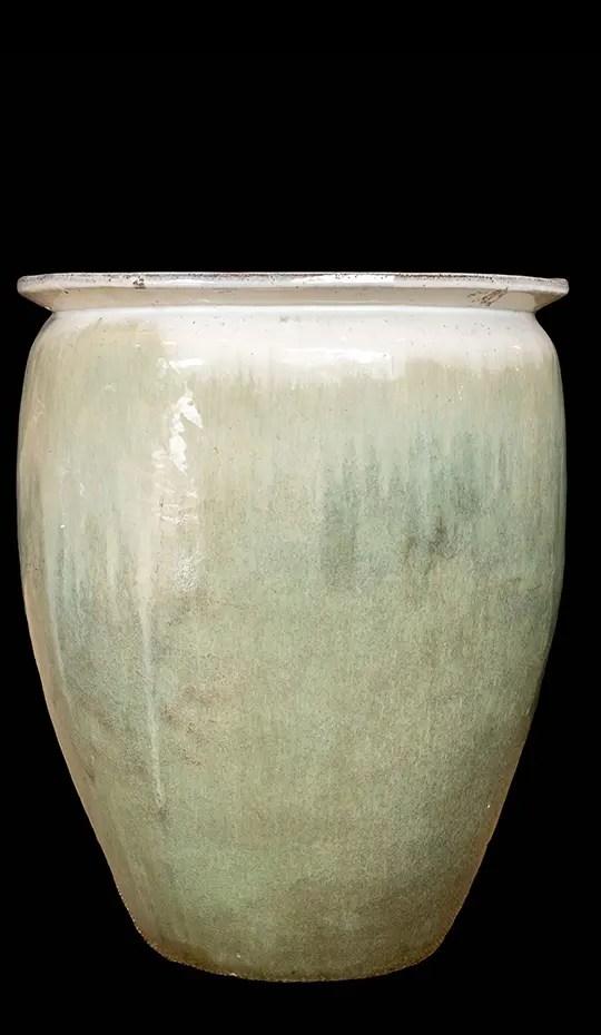 Large Sage Green & White Ceramic Floor Vase