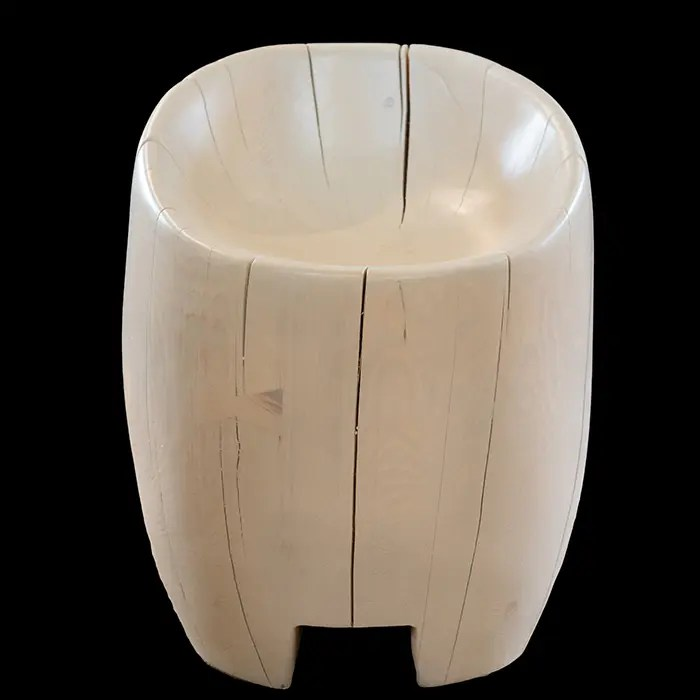Carved Wooden Barrel Chair