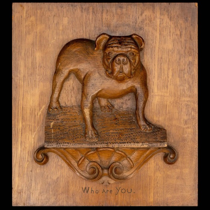 Oak Panel W/ Carved Bull Dog