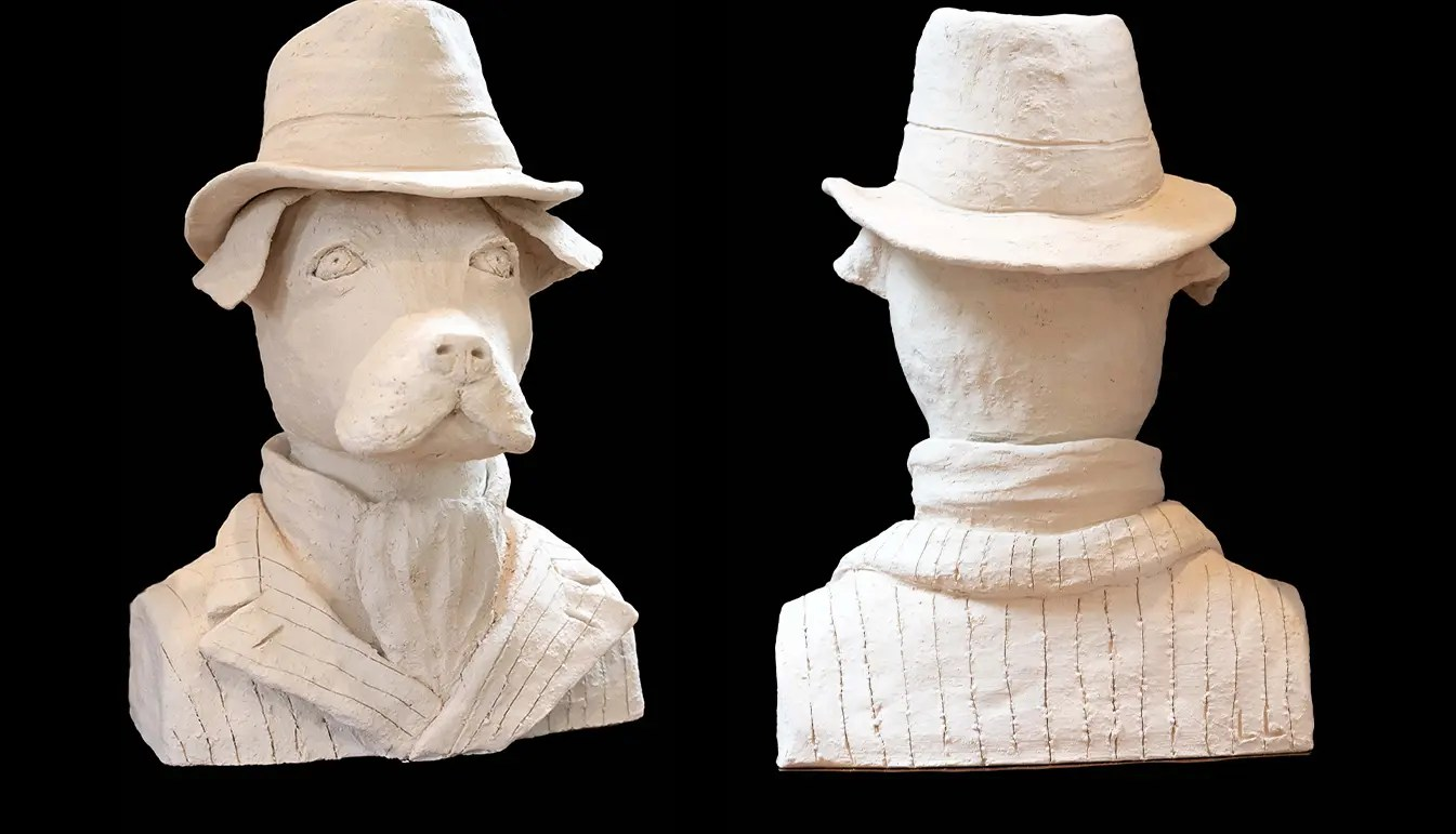Terracotta Anthropomorphic Bust of Dog