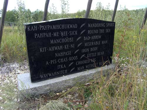 Monument marking the mass grave of victims of Canada's shameful mass hanging, at Fort Battleford Historic Site