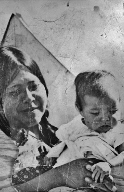 "Fanny Sunchild and her son, Bruce Sunchild - Cree - circa 1940 from the Facebook Group ""Native American Indian -- Old Photos"""