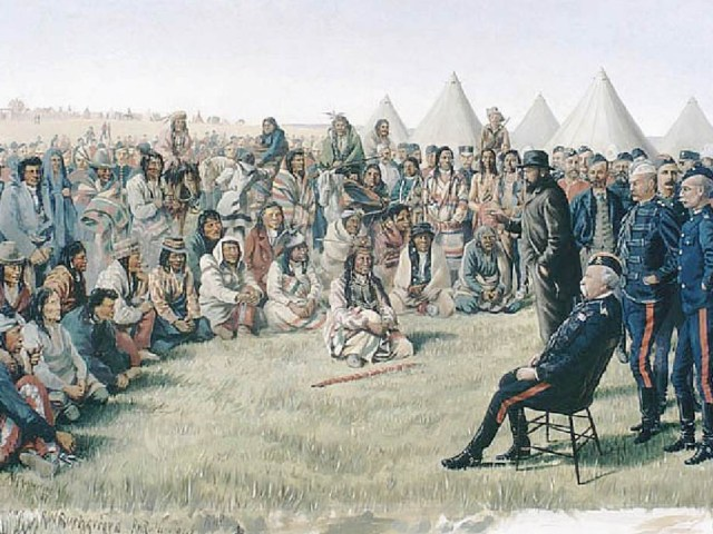On the morning of May 26, 1885, Cree Chief Poundmaker proudly led his people into Battleford under a white flag of truce to meet with Gen. Frederick Middleton, commander of the North-West Field Force. Photograph by: Supplied photo , courtesy Library and Archives Canada
