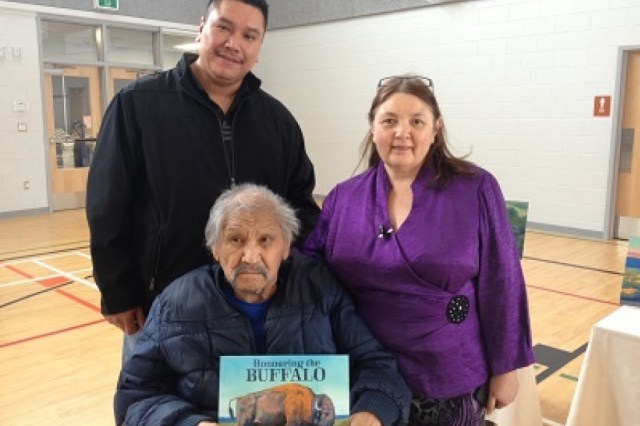 Book illustrator Mike Keepness with author Judith Silverthorne and storyteller Ray Lavalee. Photo by Adriana Christianson of CJME Radio, Regina