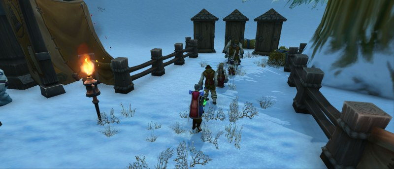 people waiting in line for outhouse World of Warcraft