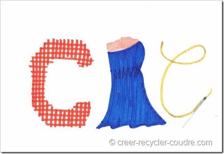 idée de logo pour le blog : lettre C en tissu tissé, lettre R en forme de robe, lettre C en fil avec aiguille en bas.
