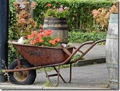 La caisse d'une vieille brouette est emplie de fleurs.