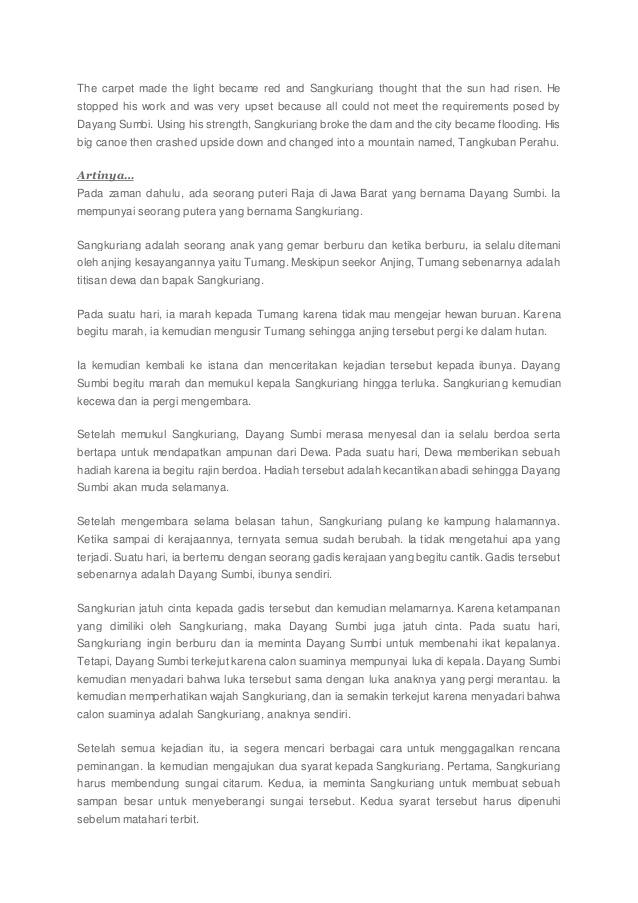 Cerita Sangkuriang Dalam Bahasa Inggris : cerita, sangkuriang, dalam, bahasa, inggris, Dongeng, Bahasa, Inggris, Artinya, Crelasopa