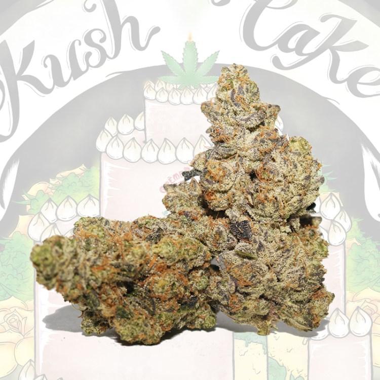 Kush Cake Cannabis Flower with link to COA info